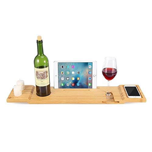 Gxfeng Support en bambou qui respecte l'environnement de plateau de baignoire, Support de téléphone portable de bibliothèque de baignade à cadre en bois pour la plupart des salles de bains, 70 x 15 cm