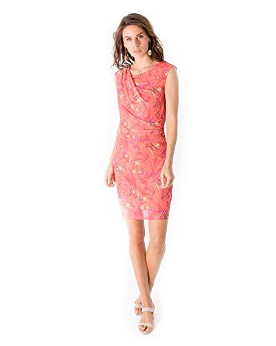 Smash! Vestido Estampado de Flores y Tropical Mujer de Verano Cuello Redondo Vestido Corto Estampado para Mujer sin Mangas Dress Hagar