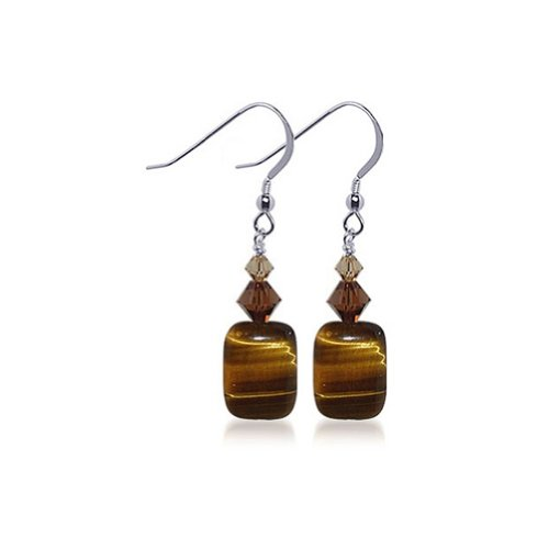 Brown Tiger Eye Gemstone Swarovski Elements Crystal Sterling Silver Handmade Drop Earrings