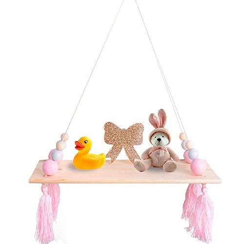 HAI+ Rope Hanging Floating Shelves, Wall Hanging Rope Shelves for Living Room, Bedroom, Bathroom and Kitchen (Pink)