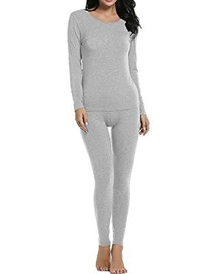 Ekouaer Thermal Underwear Women's Soft Long John Winter Base Layer Slimming Sleepwear PJs Set S-XXL (X-Large, C(Light Gray))