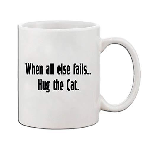 zwart wanneer alle andere mislukt knuffel de kat keramische koffie beker wit mok