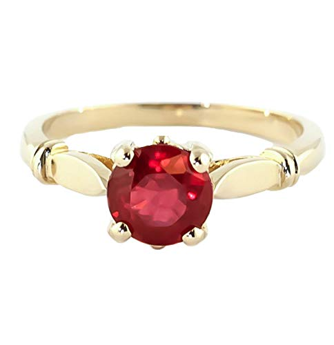 Galaxy Gold 18K Solid Yellow Gold Solitaire Ruby Ring 2 ct S - 4581y.18K (8)