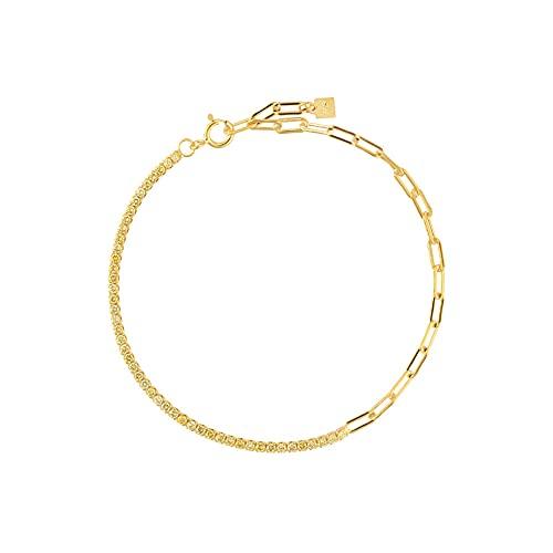 Pulsera de cadena de circonita arcoíris de plata 925 para mujer, joyería bonita de moda, Rock Punk, colorido, regalo colorido, pulsera amarilla de 18 cm
