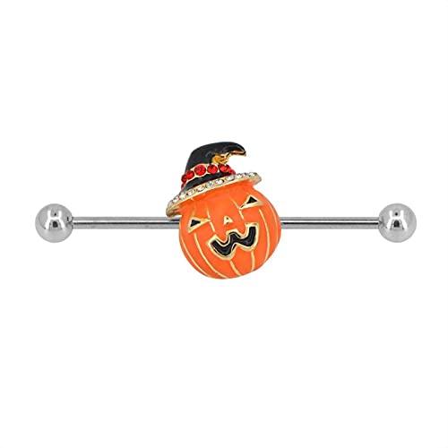 SALAN 1 Pieza 14g 316l Acero Inoxidable Naranja Epoxi Lindo Calabaza Industrial Barbell Día De Halloween Industrial Piercing Bar Industrial
