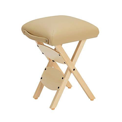 ZCL Folding Chairs for Outide Lightweight Folding Stool Portable Wooden Technician Stools Beauty Stool Folding Chair Covers (Color : Beige)