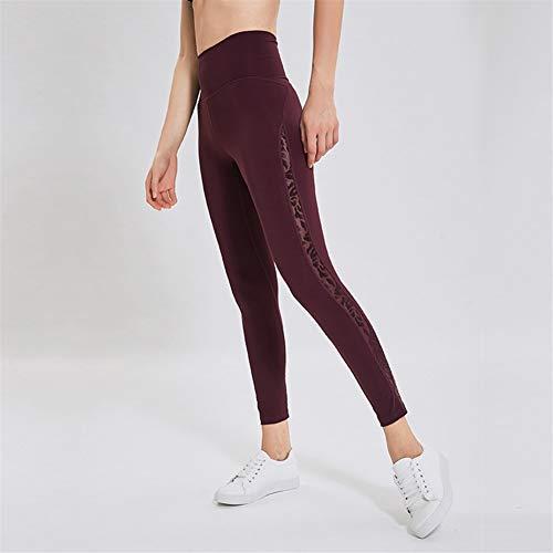 VisvimQ Neue doppelseitige nackte Yogahosen Frauen Engen elastischen Mesh-Nähten atmungsaktive Sport Fitness Hosen (Farbe : Schwarz, Size : 4)