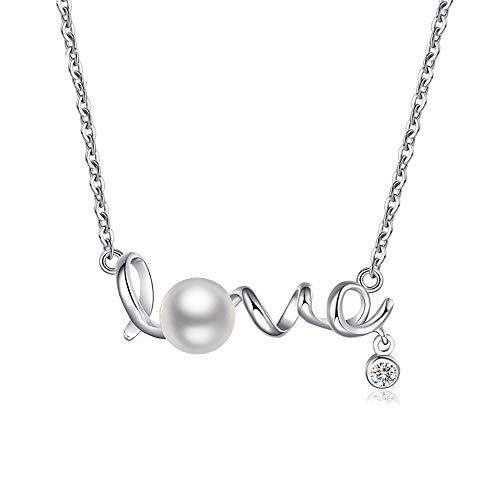 Colgante Love para lucir el amor en Plata de Ley 925 con Perla de Agua Dulce y Circonita, diseño muy elegante. Ideal para regalo romántico en Navidades, Enamorados y Cumpleaños