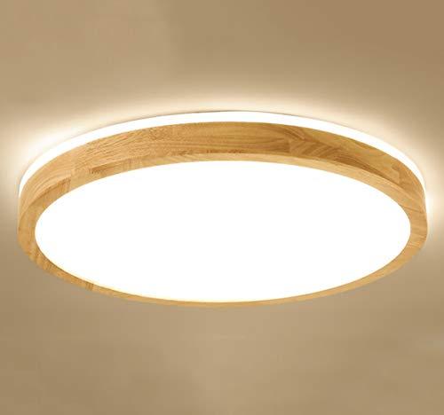 NHDY Madera Redondo Regulable Lámpara De Techo LED Dormitorio Moderno Iluminación Techo...