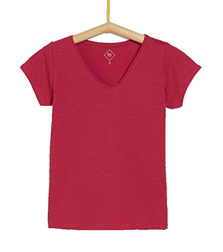 TEX - Camiseta Manga Corta Lisa para Mujer, Rojo, XXL