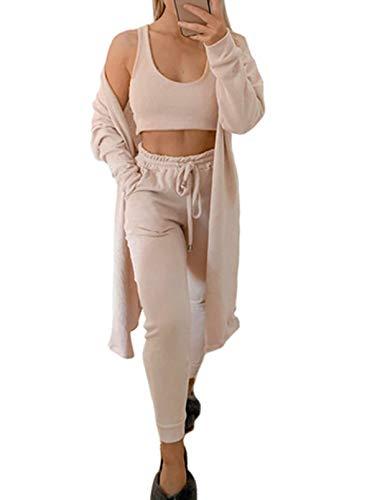 FOBEXISS Conjunto de 3 piezas para mujer, pantalones de manga larga, cárdigan con cintura con cordón alto y pantalones para dormir