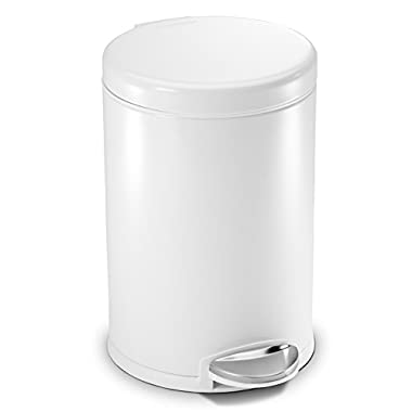 simplehuman 4.5 Liter / 1.2 Gallon Compact Stainless Steel Round Bathroom Step Trash Can, White Steel