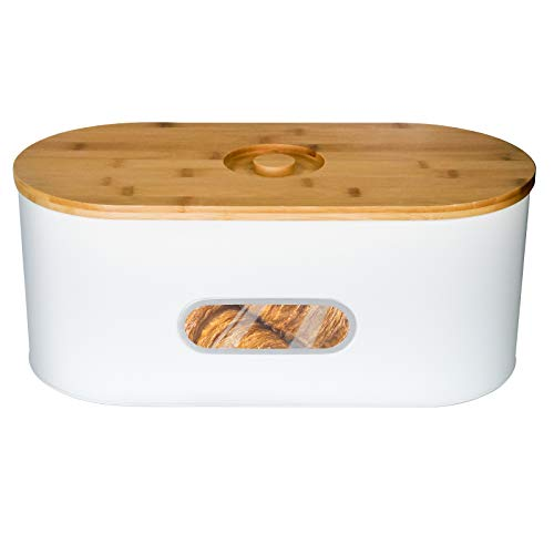 Bread Box with bamboo Lid for Kitchen Modern Metal Box Bread Storage Container (white)