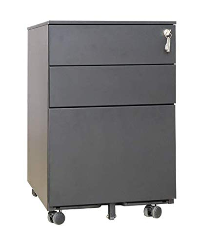 Requena 3 Drawers Mobile File Cabinet with 5 wheels Fully Assembled Lockable Storage for A4 Metal Filing Cabinets with Keys MP01 (Black)