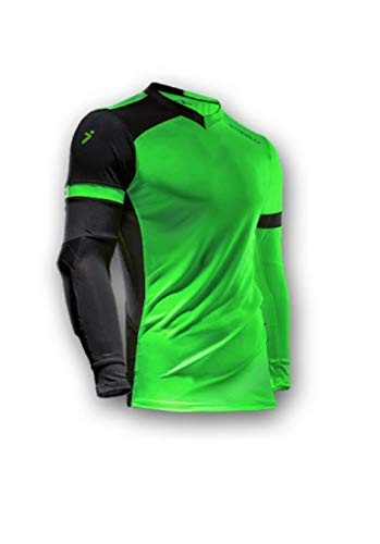 Storelli ExoShield Gladiator Goalkeeper Jersey | Padded Elbow Sleeves | Lightweight Soccer Jersey Shirt | Green | Youth Large