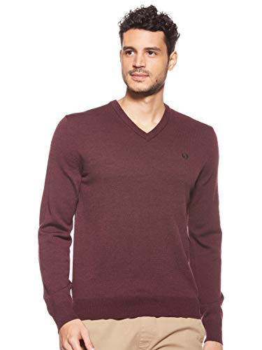 Fred Perry Herren Classic V Neck Sweater Pullover, Mahogany Marl, Groß