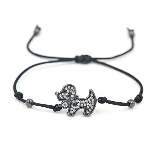 ANGYANG Woven Bracelet,Black Rope With Black Puppy Dog Inlay Zircon Braided Adjustable Charm Bracelets Cute Lucky Friendship Gift For Boy Girl Couples Men Women