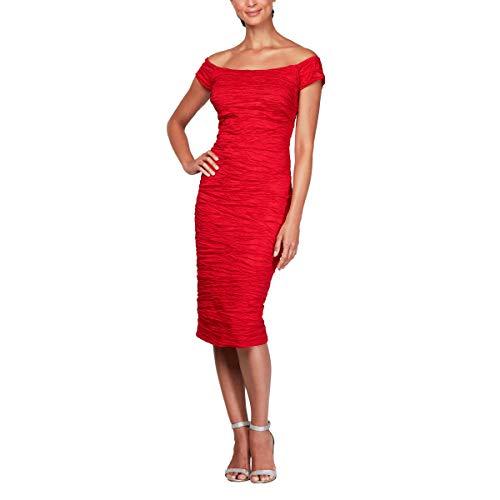 Alex Evenings Women's Plus Size Midi Off-The-Shoulder Stretch Taffeta Sheath Dress, red, 14W
