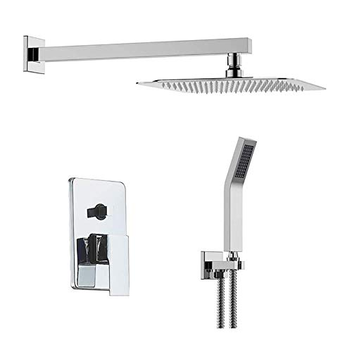 Huhn Ceiling Mount Bathroom Rain Mixer Shower Combo Set 8 Inch Square Rainfall Shower Head System, Ultra Thin Bathroom Rainfall Showerhead Shower System