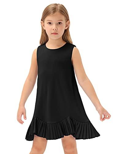 GRACE KARIN Vestido de fiesta de cumpleaños sin mangas para niñas con dobladillo plisado para niños