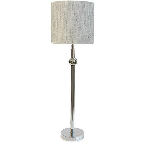 Colmore Stehlampe Tischlampe Ecru Natur beige meliert Aluminium Lampe Retro Design Silber