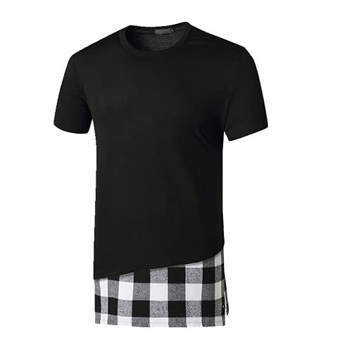 Camiseta de manga corta de cuello redondo largo para hombre
