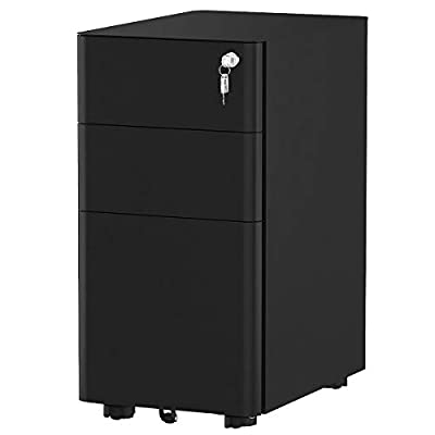 YITAHOME 3-Drawer Metal Filing Cabinet Office Drawers with Keys, Compact Slim Portable File Cabinet, Pre-Built Office Storage Cabinet for A4/Letter/Legal