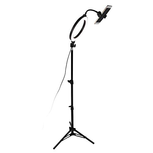 Kücheks 8inch Dimmable LED Ring Fill Light, Camera Video Lamp with USB Chrging Folding Tripod Phone Clip kit Used in Outdoor Photography, Indoor Fill Light, Portrait, Fashion