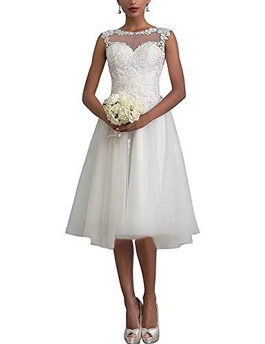 Dreammaking Damen Hochzeitskleid Damen Kurz Weiß Vintage Spitze Tüll A Linie Hochzeitskleider Brautkleid Ballkleider Standesamt