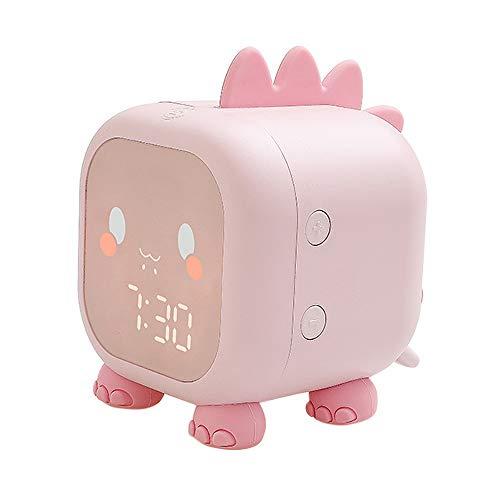 Gobesty Reloj despertador para niños, reloj despertador para niños para niñas, reloj despertador para niños digital, con luz nocturna, función de repetición del dormitorio, para niños, niñas(Rosa)