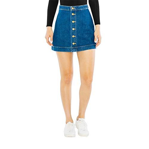 American Apparel Women's Denim Button Front A-Line Mini Skirt, Medium Wash, X-Large