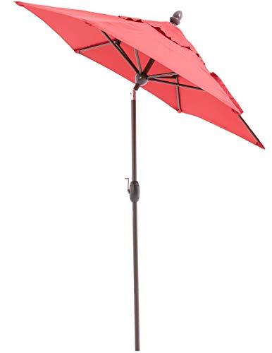SORARA Sonnenschirm Parasol | Rot | Ø 230 cm | Rund Lima | Polyester 180 g/m² (UV 50+)| Kurbel & Pendel Mechanismus (excl. Base)