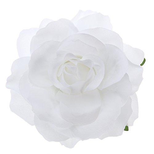 2en 1Flor Artificial Grande Rosa, pinzas de pelo broche Flor para las Mujeres Partido (Naranja) blanco