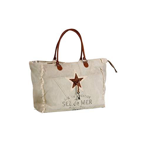 Terre Rouge Tasche mit Henkeln und Stern, Leder, Seesalz Gr. Einheitsgröße, beige
