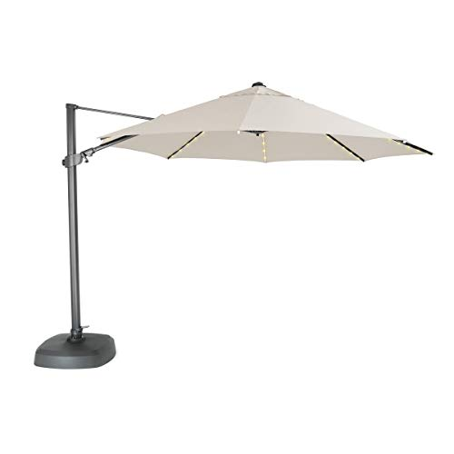 KETTLER 3.5m Free Arm Parasol Natural Canopy with LED lights & Bluetooth Speaker