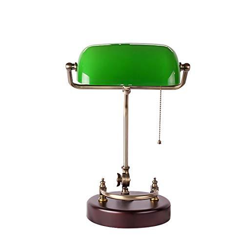 BOTOWI Lámpara de banquero Tradicional Lámpara de Mesa de Piano con Pantalla de Vidrio Verde con Base de Madera Redonda para Estudio, Lectura, Dormitorio, Sala de Estar, cabecera, 18'de Alto