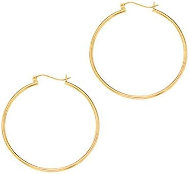 Royal Jewelz 14K Yellow Gold 1.5X40mm Round Hoop Earrings with Hinged Closure.