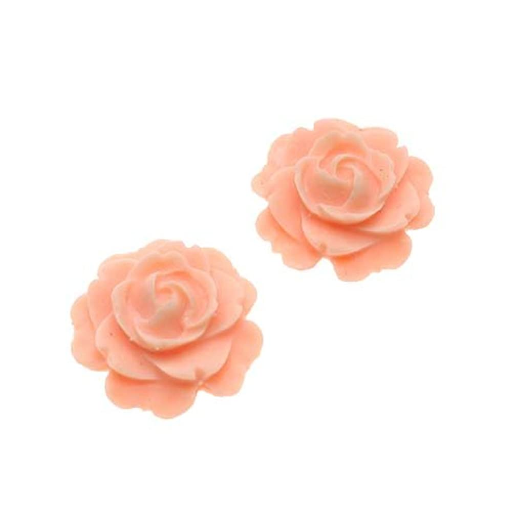 Beadaholique Vintage Look Lucite Cabochon Bead 2-Piece Flower Rose Beads, 15mm, Peach