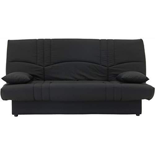 DREAM Banquette clic clac 3 places - Tissu 100 % coton - Noir - Contemporain - L 190 x P 92 cm