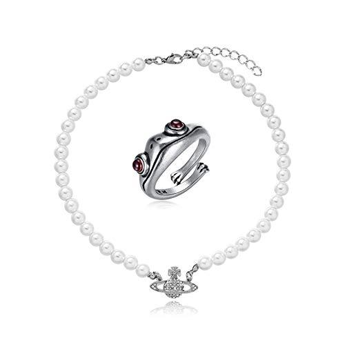 Collares de cuentas de perlas blancas Cristal Rhinestone Saturno, anillos de rana de plata, collar del planeta, anillos de rana 3d ajustables para mujeres, 2pcs anillo collar, día de San Valentín pres