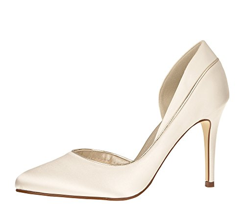 Rainbow Club Brautschuhe Joanne - Pumps Ivory Satin - High Heels Damen - Gr 35 EU 2 UK