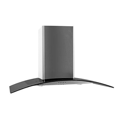 Klarstein GL90WSB Cappa Aspirante con rivestimento in vetro e acciaio inox (90 cm, potenza di aspirazione pari a 385 m³/h, 3 livelli di potenza, design accattivante) - argento/vetro scuro