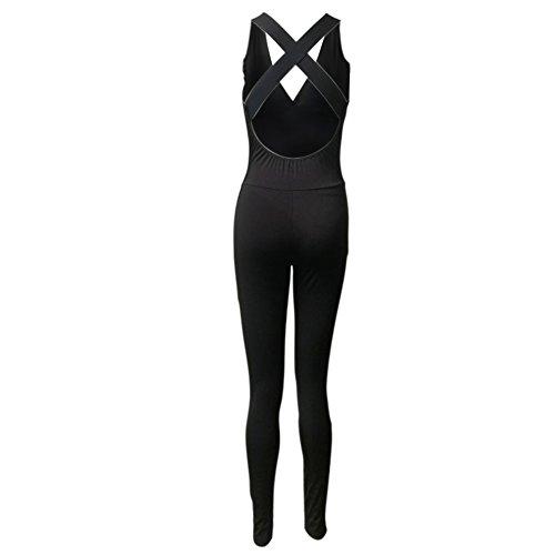 leezo Damen Tight Yoga Jumpsuit Ärmellos Rückenfrei Hohl Out Sport Strampler Spielanzug, xl