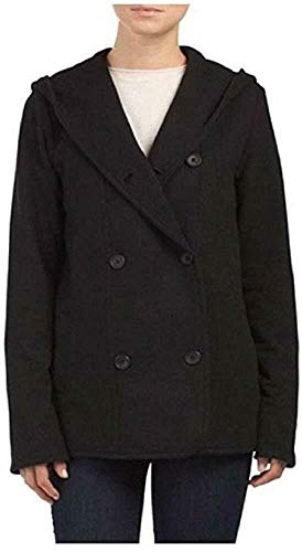 James Perse Women's Double Breasted Hoodie Coat, Black, 3 = Large