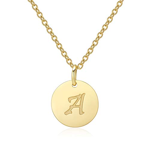 Letter Necklace for Women Teen Girls A Initial Necklaces 14K Gold Plated Stainless Steel Personalized Pendant Birthday Christmas Gift for Girls Children
