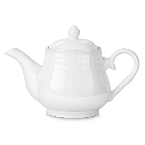 Flexzion Tetera de porcelana de 24 Onzas, Tetera de cerámica con tapa extraíble, para 2-3 tazas de té y café, Estilo clásico inglés, Apto para microondas y lavavajillas, Color Blanco Puro