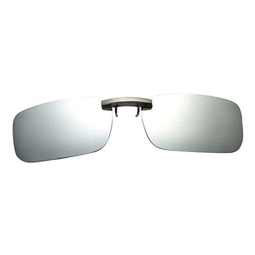 SM SunniMix Driving Gafas de Sol con Lente de Miopía Polarizadas UV400 Abatibles con Clip para Hombre, Ligeras - plata blanca, como se describe