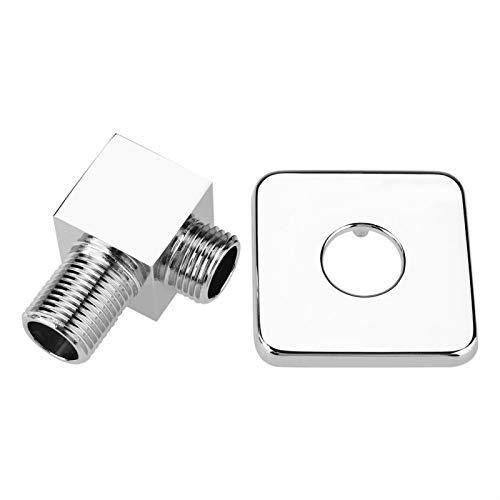 Codo de salida de ducha - Conector de manguera de ducha de mano cuadrado cromado G1/2 Codo de suministro de pared Salida de agua Boquilla, válvula de ángulo montada en la pared oculta para bañ
