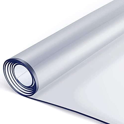 Tovaglia Trasparente in PVC 160 x 90 cm, 2 mm di Spessore, Tovaglia plastificata trasparente, Tovaglia di PVC Plastica Impermeabile, Resistente all'Olio, Antigraffio, Antiscivolo, Facile da Pulire