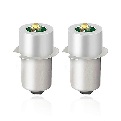 JESLED Upgrade LED Flashlight Bulb, 18V 12V 19.2V 6-24 Volt, 3W 247LM, PR2 P13.5S LED Conversion Kit for Ryobi Milwaukee Craftsman DEWALT Lamp Torch Lantern Work Light, Maglit Bulbs Replacement 2-Pack
